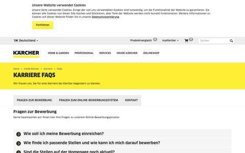 Screenshot of FAQ Page kaercher.com - Hier beantworten wir Fragen zu unserem Bewerbungsprozess   Kärcher - captured Oct. 15, 2018