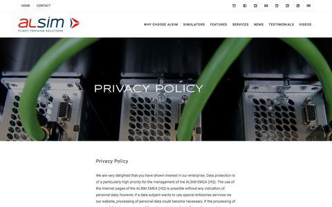 Screenshot of Privacy Page alsim.com - Privacy Policy | ALSIM - captured July 28, 2018