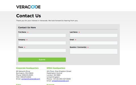 Screenshot of Contact Page veracode.com captured Sept. 12, 2014