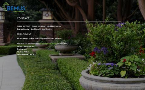 Screenshot of Contact Page bemus.com - Contact | Bemus Landscape - captured Nov. 3, 2014