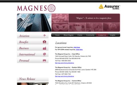 Screenshot of Locations Page magnesaviation.com - Locations - The Magnes Group Inc. - captured June 12, 2016