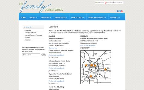 Screenshot of Locations Page thefamilyconservancy.org - Locations - captured Oct. 7, 2014