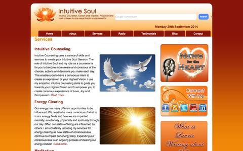 Screenshot of Services Page intuitivesoul.com - Services Intuitive Soul | Intuitive Counseling |Clear Energy - captured Sept. 30, 2014