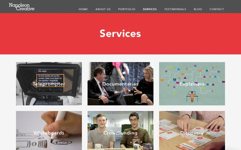 Screenshot of Services Page napoleoncreative.com - Video Production and Animation N1 - captured Oct. 20, 2018