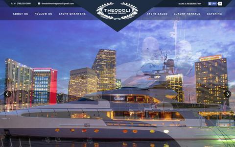 Screenshot of Home Page theodolimarinegroup.com - Boat Rentals & Luxury Yacht Charters in Miami Beach by Theodoli Marine Group - captured Sept. 2, 2015