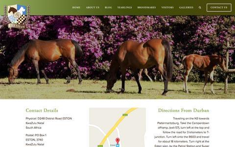Screenshot of Contact Page backworth.co.za - Contact Us Ń Backworth Stud - captured Nov. 14, 2015