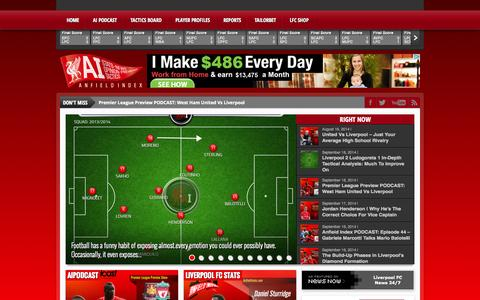 Screenshot of Home Page anfieldindex.com - AnfieldIndex.com - A Blogging community for fans of Liverpool FC - captured Sept. 19, 2014