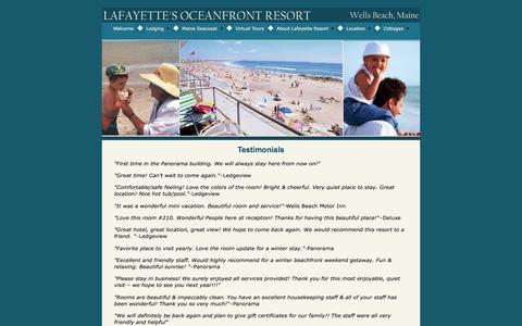 Screenshot of Testimonials Page wellsbeachmaine.com - Testimonials, Maine Vacation Resort Rental, Maine Coast Travel, Lafayette's Oceanfront Resort, Wells Beach ME - captured Oct. 18, 2016