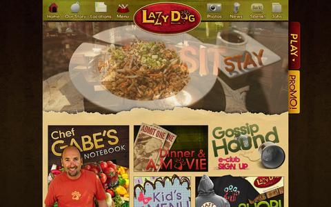 Screenshot of Home Page lazydogrestaurants.com - Lazy Dog Restaurant & Bar - captured Sept. 24, 2014