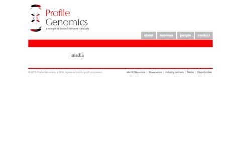 Screenshot of Press Page profilegenomics.com - Profile Genomics | A non-profit biotech services company - captured Sept. 30, 2014