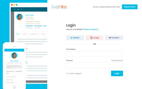 Screenshot of Login Page livehire.com - LiveHire - Australia's 1st labour market, where workers and employers connect directly - captured Dec. 6, 2018