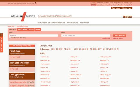 Screenshot of Jobs Page designingcrossing.com - Browse Design Jobs By Job Title, City, State | DesigningCrossing.com - captured Aug. 6, 2018