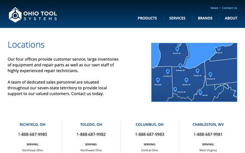 Screenshot of Contact Page Locations Page ohiotool.com - Locations | Ohio Tool Systems - captured Nov. 14, 2018