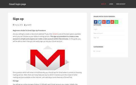 Screenshot of Signup Page gmailloginpage.org - Sign up - Gmail login page - captured Jan. 23, 2017