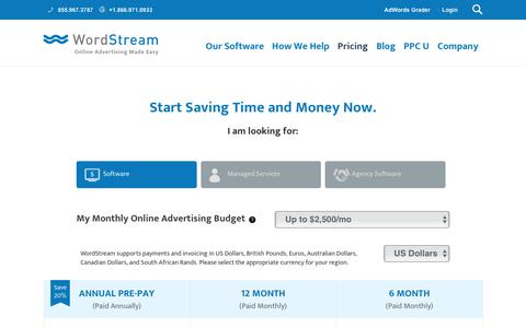 Screenshot of Pricing Page wordstream.com - Choose a plan that works for you.   WordStream - captured June 29, 2017
