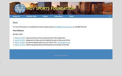 Screenshot of Press Page indysportsfoundation.com - News | Indy Sports Foundation - captured Jan. 8, 2016