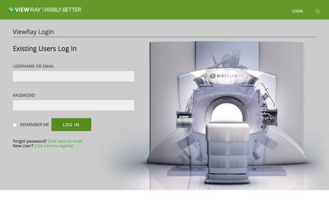 Screenshot of Login Page viewray.com - ViewRay - MRIdian MRI-Guided Linac - captured Feb. 1, 2020