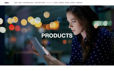 Screenshot of Products Page tengroup.com - Products — Ten Group - captured Oct. 1, 2018
