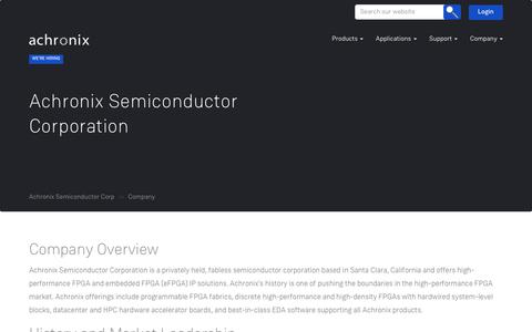 Screenshot of About Page achronix.com - Company – Achronix Semiconductor Corp - captured Oct. 7, 2017