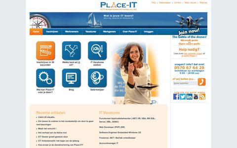 Screenshot of Home Page place-it.nl - Vacature ICT Programmeur Ontwikkelaar Developer Automatisering IT ICT Informatica - Place-ICT - captured Sept. 30, 2014
