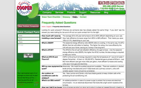 Screenshot of FAQ Page coopergreenteam.com - Frequently Asked Questions - Cooper Green Team - captured Oct. 1, 2014