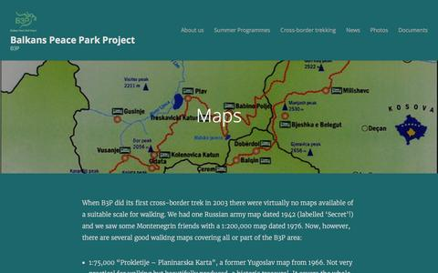 Screenshot of Maps & Directions Page wordpress.com - Maps | Balkans Peace Park Project - captured May 21, 2016