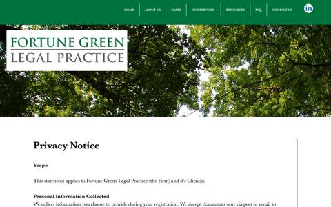 Screenshot of Privacy Page fglp.co.uk - PRIVACY POLICY - Fortune Green Legal Practice - captured Oct. 10, 2018