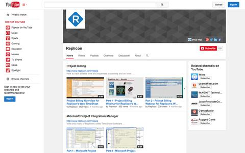 Screenshot of YouTube Page youtube.com - Replicon  - YouTube - captured Oct. 22, 2014