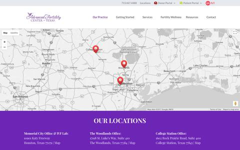 Screenshot of Locations Page infertilityanswers.com - OUR LOCATIONS - Advanced Fertility Center of Texas - captured Oct. 7, 2017