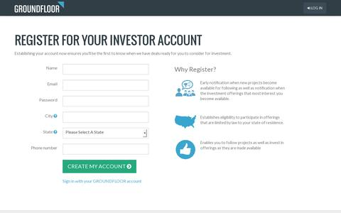 Screenshot of Signup Page groundfloor.us - GROUNDFLOOR | The new finance, raised to the power of us - captured July 19, 2014