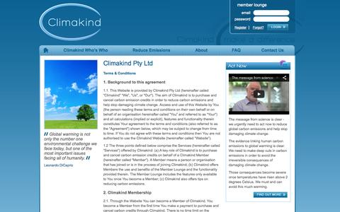 Screenshot of Terms Page climakind.com - ClimaKind :: Terms of Use & Privacy Policy - captured Oct. 2, 2014