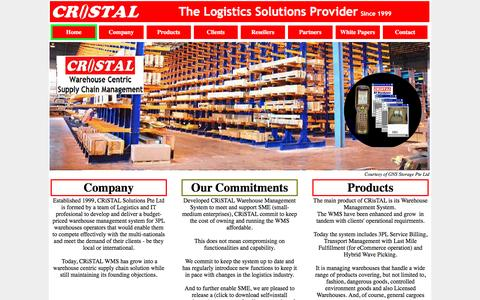 Screenshot of Home Page cristalsolutions.com - CRiSTAL 3PL Warehouse Management System since 1999 - captured Oct. 10, 2016
