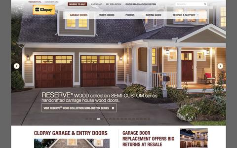 Screenshot of Home Page clopaydoor.com - New & Replacement Garage Doors | Clopay Door - captured Jan. 29, 2016