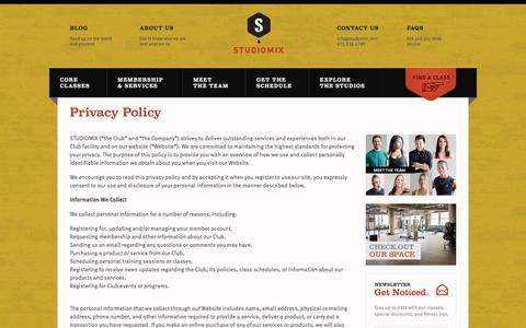 Screenshot of Privacy Page studiomix.com - Privacy Policy » STUDIOMIX - captured Oct. 9, 2014