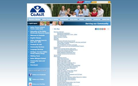 Screenshot of Site Map Page coasit.org.au - Co.As.It. Sydney Italian Language & Community Services - captured Sept. 30, 2014
