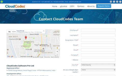 Screenshot of Contact Page cloudcodes.com - Contact CloudCodes for Any Query - captured Feb. 10, 2017
