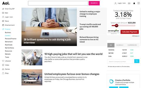 Screenshot of Jobs Page aol.com - Careers - News and Advice from AOL Finance - captured March 8, 2018