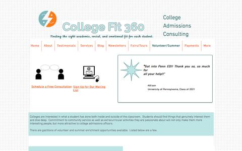 College Fit 360-College Consultants Los Angeles-Volunteer/Summer Opps