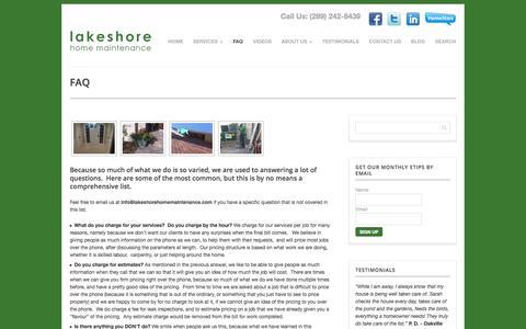 Screenshot of FAQ Page lakeshorehomemaintenance.com - Handyman FAQ, Oakville, Milton, Handyman pricing   Lakeshore Home Maintenance - captured Sept. 27, 2014