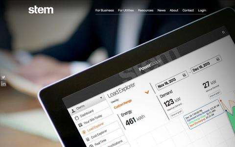 Screenshot of Home Page stem.com - Stem, Inc. | Smart Grid Technology and Energy Solutions - captured Sept. 17, 2014
