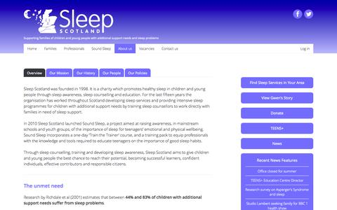 Screenshot of About Page sleepscotland.org - About us | Sleep Scotland - captured Aug. 16, 2015