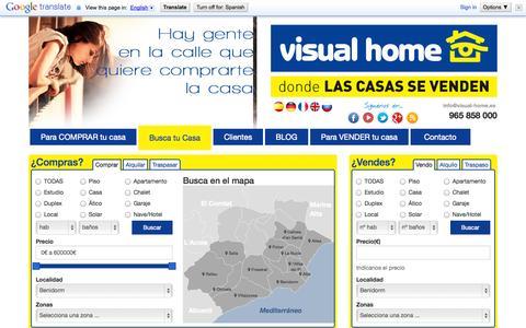 Screenshot of Home Page visual-home.es - Pisos y apartamentos en Benidorm o alrededor - Inmobiliaria Visual Home - captured Oct. 9, 2014