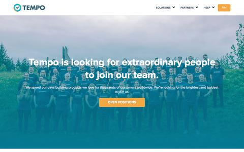 Screenshot of Jobs Page tempo.io - Tempo | Career opportunities and reasons to join - captured March 15, 2018