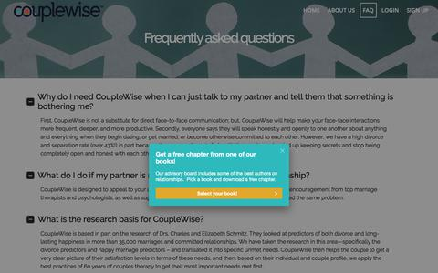 Screenshot of FAQ Page couplewise.com - Frequently asked questions – CoupleWise - captured July 13, 2018