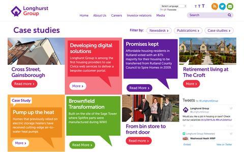 Screenshot of Case Studies Page longhurst-group.org.uk - Case studies - captured July 17, 2016