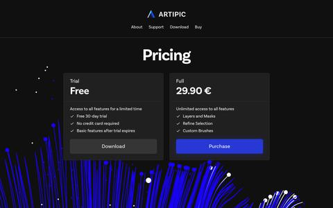 Screenshot of Pricing Page artipic.com - Pricing–Artipic - captured Dec. 9, 2018