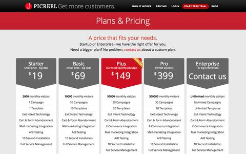 Screenshot of FAQ Page Pricing Page picreel.com - Plans & Pricing | Picreel.com - captured Sept. 17, 2014