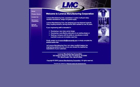 Screenshot of Home Page lorencemfg.com - Turning Rotary Manifold Designs Into Engineering Solutions™ - captured Oct. 3, 2014