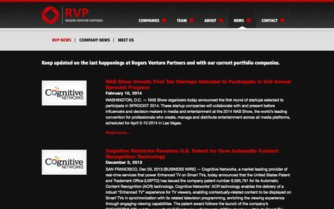 Screenshot of Press Page rogersvp.com - RVP News Archives | Rogers Venture PartnersRogers Venture Partners - captured Oct. 26, 2014