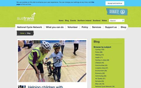 Screenshot of Blog sustrans.org.uk - Blog | Sustrans - captured Sept. 23, 2018